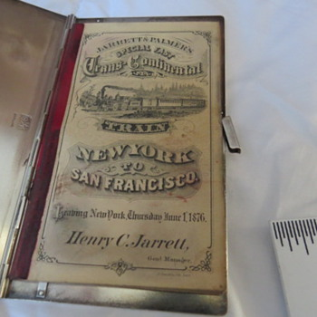 TICKET &STERLING COVER 1876 JARRETT & PALMERS EXPRESS TRAIN
