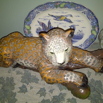 Huge Panther Statue - Art Pottery