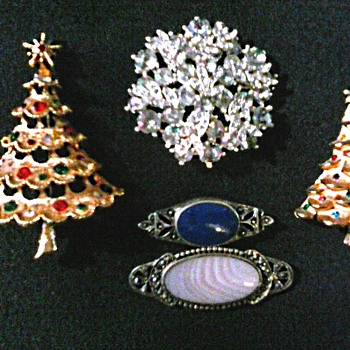 Christmas Trees and Silver Bar Pins / Circa 1960's-70's