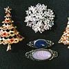 Christmas Trees and Silver Bar Pins / Circa 1960's-70's