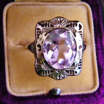 Antique Deco Pink Kunzite 2-Tone 14k Gold Ring Rare Buff Cut - Fine Jewelry
