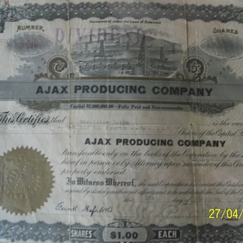 1919 share in Ajax Producing Company.