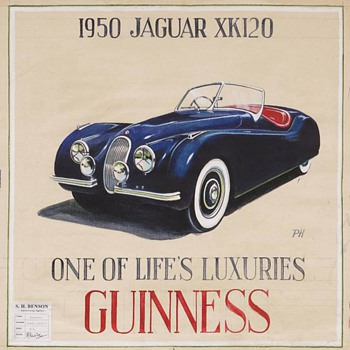 1950 Guinness Advertising Study With a Jaguar XK120 - Advertising