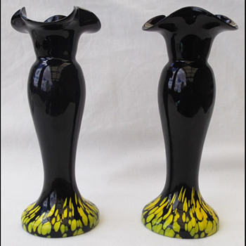 Welz?? Black with Yellow spots - Art Glass