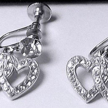 Weiss Hearts Screw Back Earrings - Costume Jewelry