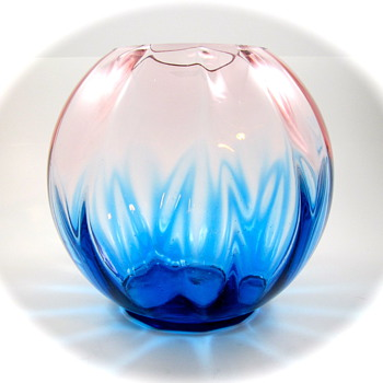 Kralik Ball Vase, ca. 1920s - another take on Pink & Blue - Art Glass