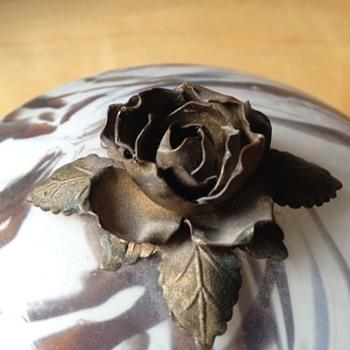 Czech dish with metal rose finial - Art Glass
