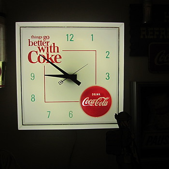 "1960s lighted ""things go better with Coke"" clock"