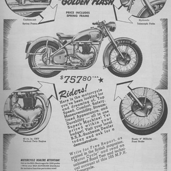 1950 B.S.A. Motorcycle Advertisement - Advertising