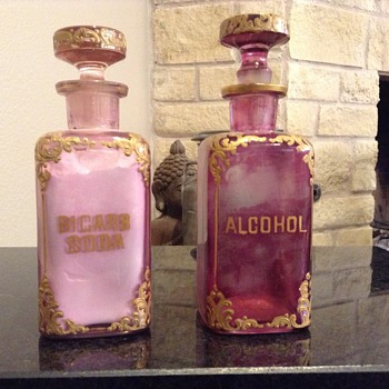 Pink with gold bottles