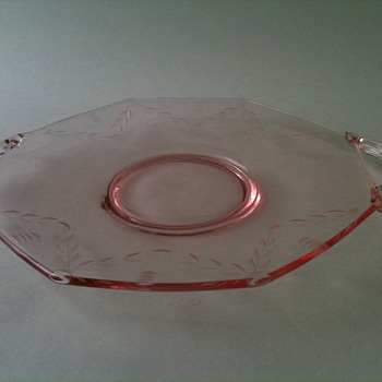 Pretty Etched Pink Platter  - Glassware