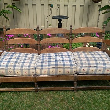 ANTIQUE WOOD SOFA COUCH WITH CUSHIONS