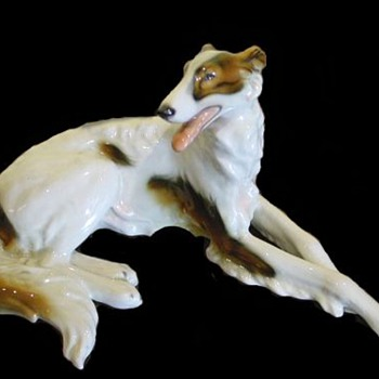 """Redux"" Wein ""Keramos"" Wolf & Sons Co./ Flamingos and Borzoi Figurines / Circa 1920's"