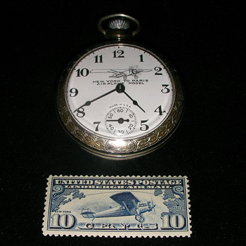 "Charles Lindbergh - ""New York to Paris"" Pocket Watch & Stamp - Pocket Watches"