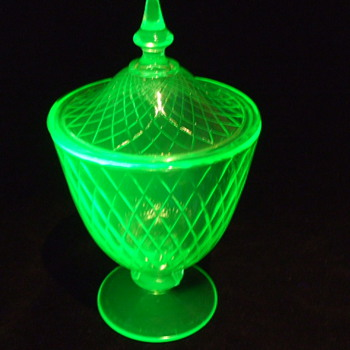 Large TIFFIN GLASS Vaseline/Fluorescent DIAMOND OPTIC Candy Jar - Glassware
