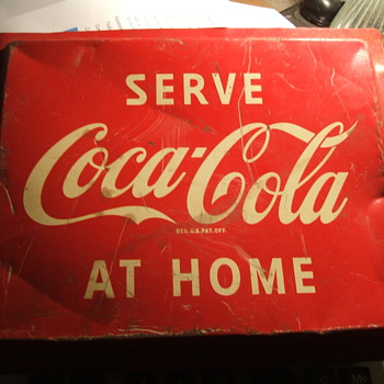 Coca-Cola Metal Sign -- Serve at Home - Coca-Cola