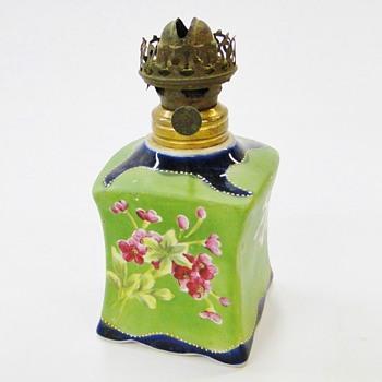 Antique Miniature Hand Painted / Enamel Porcelain Oil Lamp - Lamps