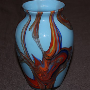 Unusual Blue Vase - Art Glass
