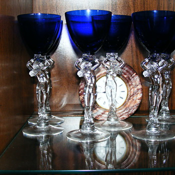 6 Wine Glasses, Cambridge #3011 1930's Statuesque Nude-Royal Blue Cobalt - Art Glass