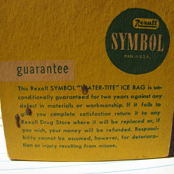Old Rexall ice bag - Advertising