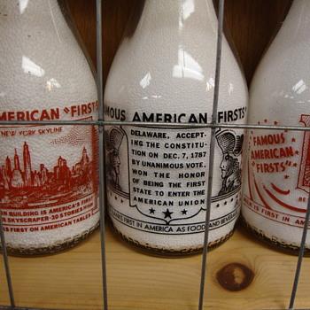 """Famous American Firsts"" Milk Bottles................"