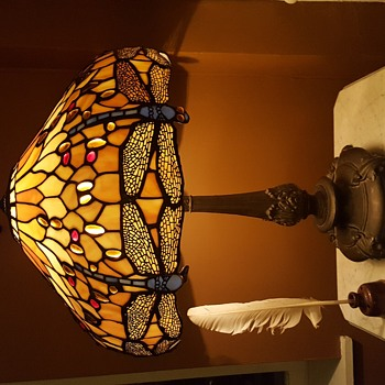 Stained Glass Dragonfly Lamp - appears old