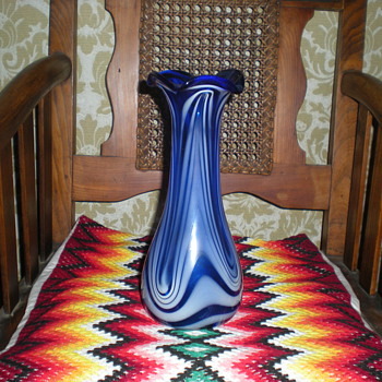 Bohemian Art Nouveau blue and milky glass vase.