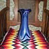 Bohemian Art Nouveau blue and milky glass vase.