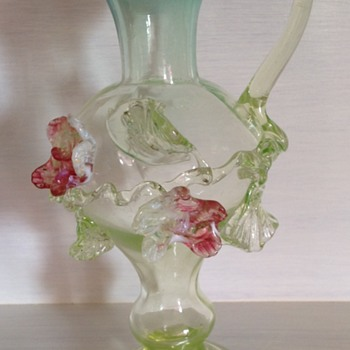 Victorian uranium glass jug vase with applied flowers - Art Glass