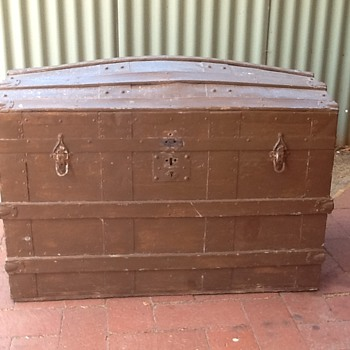 Old metal & timber trunk