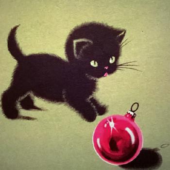 retro kitty Christmas card - Christmas