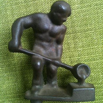 Cast Metal Steel Worker Figure
