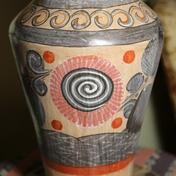 Large and Old Tonala Vase / Urn - Art Pottery