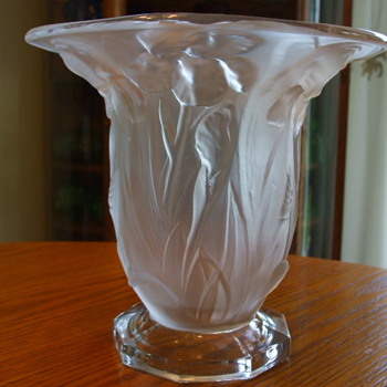 Old Crystal Satin IRISES VASE- by DUNCAN GLASS Co. - Art Glass