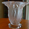 Old Crystal Satin IRISES VASE- by DUNCAN GLASS Co.