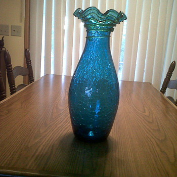 18&quot; crackle glass vase, shapphire blue, fluted top and green snake - Glassware
