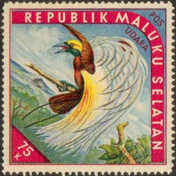 "1952 - So. Moluccas ""Birds of Paradise"" Cinderella Stamps"