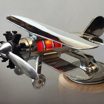 Illuminated Biplane, Radial Engine, Car Hood Ornament - Art Deco
