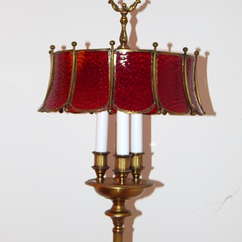 Vintage Brass Floor Lamp with Ruby Red Glass Shade - Lamps