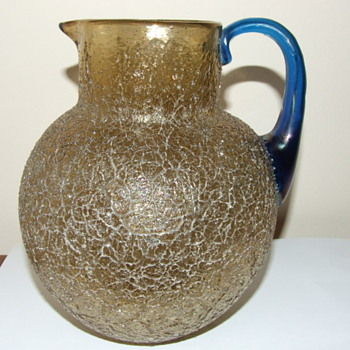 Loetz Gold Overshot Pitcher / Jug with Blue Handle