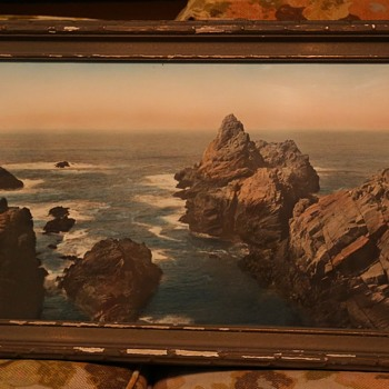 Large Hand-colored Photo of Coastal Rocks in a Pie-crust Frame