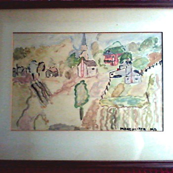 "Folk Art Primitive Water Color / Titled ""Manchester Missouri"" / Circa 19th Century - Folk Art"