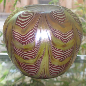 QUEZAL ART GLASS ROSE WATER VASE, circa 1902