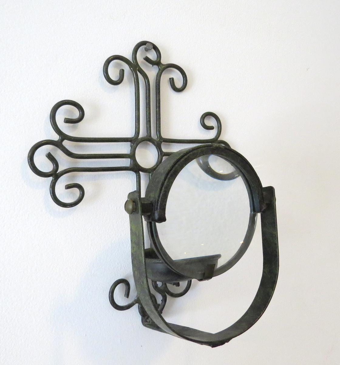 Wall Sconce With Magnifying Glass : Candle Magnifying Glass Wall Sconce age unknown Collectors Weekly