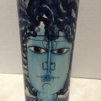 Three Face Ceramic vase - Art Pottery