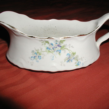 "Gorgeous Antique White China Gravy Boat with Blue Flowers & Gold Accents - Stamp Reads ""Potter's Co-Operative Co. Semi Vitreous - China and Dinnerware"