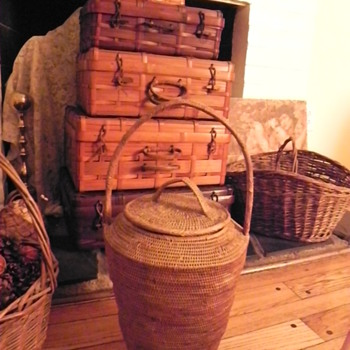 Antique tall lidded basket 4 large woven suitcases