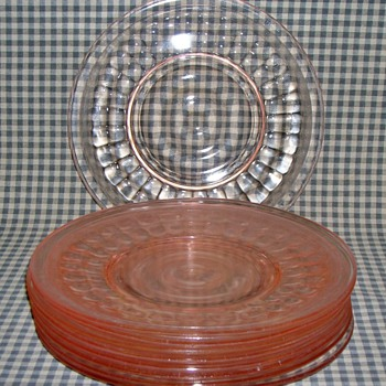 Pink Depression Glass Plates - Glassware