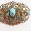Czech glass and enamel (?) brooch