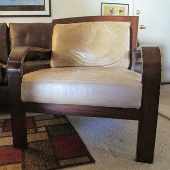 Palecek Lounge Chair, thick leather cushions, solid, used furniture. - Furniture
